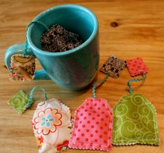 Tea Party Tea Bags Play Kitchen Tea Bags by SewSassiBoutique,  I should make these