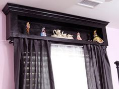 Storage Valance DIY Add a shadow box above a window to claim unused space for collectibles or knicknacks or a child's name