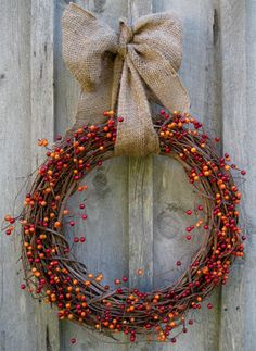 Rustic Berry Wreath with Burlap Bow by NewEnglandWreath on Etsy