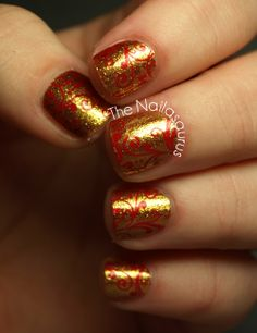 3 coats of Sally Hansen Gilded Lily* and stamped on a swirly design from Bundle Monster Plate BM314 using Sally Hanses InstaDri in Rapid Red