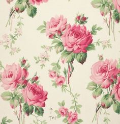 Fabric for that #shabby project with #pink #roses  Barefoot Roses PWTW054 White Stemmed Flower by Tanya Whelan