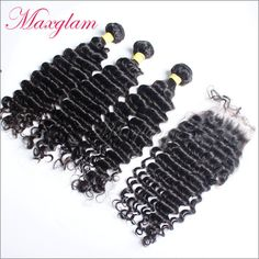 Free Shipping Peruvian Curly Virgin Hair 3 bundles with 1Pc Lace Closure 4X4 swiss lace deep wave rosa hair products