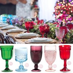 It's the most magical time of the year! What a gorgeous tablescape created for @jessicasimpson Christmas holidays party  We are so excited to add our coloured glass goblets to our hire collection. These are just some of the many pretties that are available in the new year!  #christmastable #christmastablesetting #christmastablescape #christmasdecor #holidayseason #prettypedestals #prettytables #goblets #tablescape #tabletoprentals #celebrate by prettypedestals