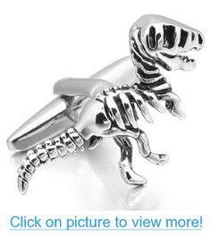 JBlue Jewelry Men's Rhodium Plated Cufflinks Silver Black Dinosaur Vintage Unique Shirt Wedding (with Gift Bag)