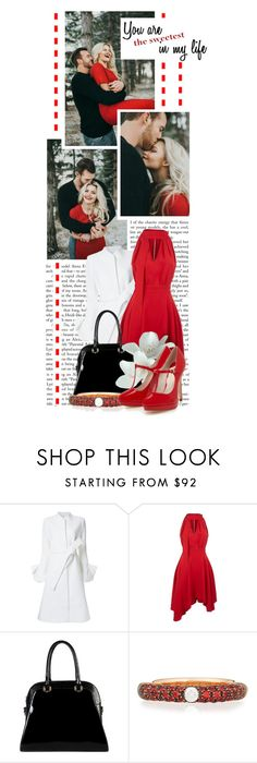 """""""You Are The Sweetest In My Life....."""" by queenrachietemplateaddict ❤ liked on Polyvore featuring Goen.J, La Mania, Diophy, Adolfo Courrier, white, black, red, Heels and coat"""