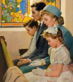 Easter Sunday and the family goes to church. ~ vintage art by Andrew Loomis