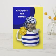 Funny Kitten Design Mothers Day Greeting Card In Italian Matching