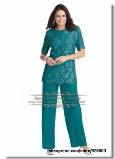 Elegant Lace And Chiffon mother of the bride pant suits Cheap $142.00