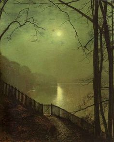 Moonlight on the Lake by John Atkinson Grimshaw. Oil on canvas 1872