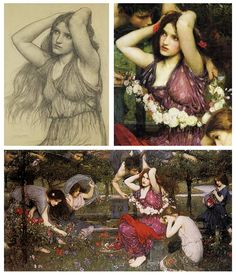 John William Waterhouse : Flora and the Zephyrs, pencil to painting (1897)