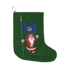 Santa Claus With Flag Of Maine christmas stocking