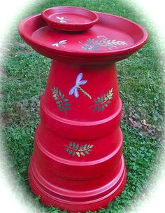 Birdbath made from terra cotta pots
