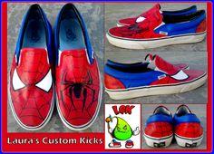 Custom Spiderman shoes on Vans slip ons.