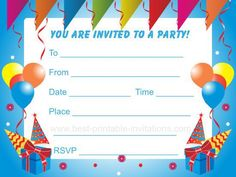 Get birthday party invitation template free printable invitation birthday party invitations stopboris Gallery