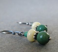 Turquoise Drop Earrings . Turquoise Jewelry Yellow by vickiorion, $25.00