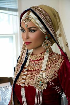 Her makeup is love! Wedding Hijab Styles, Disney Wedding Dresses, Pakistani Wedding Dresses, Pakistani Bridal, Bridal Dresses, Desi Bride, Desi Wedding, Wedding Ideas, Wedding Pictures