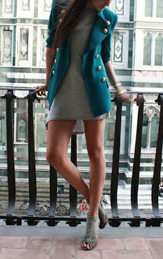 coat with grey dress