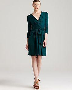 DKNY Three Quarter Sleeve Cross Front Dress | Bloomingdale's