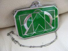 Antique Art Deco Silver Geometric Two Tone Green Enamel Dance Compact ELGIN EAM