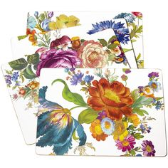 MacKenzie-Childs Flower Market Cork Back Placemats - Set of 4 - White featuring polyvore, home, kitchen & dining, table linens, multi, flower stem, cork table mats, heat-resistant placemats, cork placemats and handmade placemats