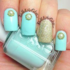light blue - golden nails