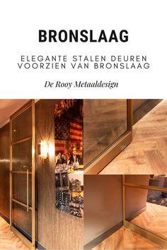 In deze luxe keuken plaatste De Rooy Metaaldesign stalen deuren met vast panelen en een unieke bronslaag. Liquor Cabinet, Storage, Furniture, Home Decor, Lush, Purse Storage, Homemade Home Decor, Larger, Home Furnishings