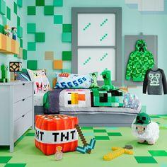 Boys Minecraft Bedroom, Minecraft Room Decor, Minecraft Pillow, Minecraft Furniture, Creeper Minecraft, Minecraft Crafts, Minecraft Skins, Chambre Nolan, Tumblr Rooms