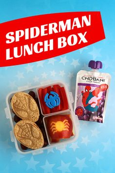 A fun lunch for a Spiderman lover: Sunbutter and jelly Spiderman sandwiches, grapes, red pepper strips, a carved apple and a protein-packed Chobani Greek Yogurt Kids pouch in grape flavor.  Sponsored by Chobani.