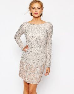 Coast | Coast Lydie All Over Sequin Mini Dress in Blush at ASOS