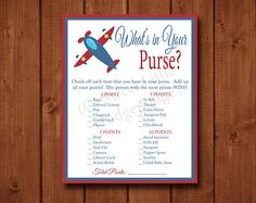 Airplane Theme Baby Shower Games | Airplane Baby Shower What's In Your Purse Printable - INSTANT DOWNLOAD ...