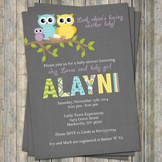 Owl baby shower invitation, second baby with gray background, digital, printable file