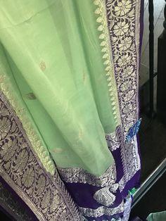 Georgette Silk Banarasi - Mint Green Purple Silver Zari – Panache-The Desi Creations Simple Saree Designs, Simple Sarees, Saree Blouse Designs, Green And Purple, Mint Green, Bridal Dupatta, Banaras Sarees, Gold Chain Design, Saree Models