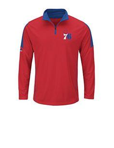 NBA Philadelphia 76ers Mens 196377 Status Inquiry Long Sleeve Mock Neck 14  Zip Synthetic Fashion Tops 56be85fb9