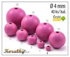 Dřevěné korálky kulička 4mm růžová č.106