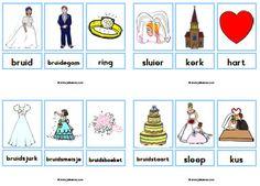 trouwen woordkaarten Preschool Lessons, Marriage, Comics, Projects, Crafts, Wedding, Group, Valentines Day Weddings, Log Projects