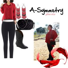 A-Symmetry (Plus Size) by thecurvyelle on Polyvore featuring moda, Jones New York, But Another Innocent Tale, Poppie Jones, vintage, vintage inspired, bait footwear, modcloth, red and silk