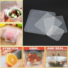 Wraps Silicone Seal Cover Stretch Cling Film Food Fresh Keep Reusable Kitchen for sale online Wraps, Getting Hungry, Food Tasting, Leftovers Recipes, Plastic Wrap, Plastic Bags, Plastic Containers, Preserving Food, Food Grade