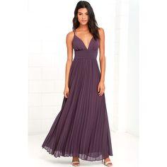 Depths of My Love Dusty Purple Maxi Dress ($78) ❤ liked on Polyvore featuring dresses, purple, chiffon maxi skirt, v-neck maxi dresses, pleated chiffon maxi skirts, pleated maxi skirt and purple chiffon dress