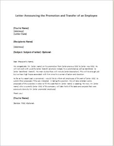 promotion and transfer announcement letter of an employee download at httpwriteletter2