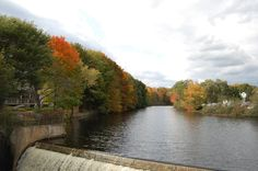 Fall Colors at the waterfall dam in Kennebunk, Maine