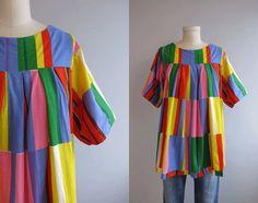 Vintage Marimekko Shirt / 60s Mod Graphic Print Blouse Bright Multi Color Block