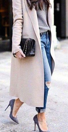 #fall #fashion / cream + denim