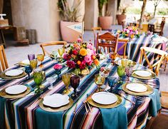 Our fiesta inspired wedding was just as vibrant as it was fun! With  bright beautiful blooms, Mexican serape style linens, and colorful glassware you get this lively celebration just featured on #inspiredbythis!