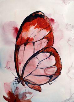 Cette œuvre est très jolie. Elle représente un papillon qui bois le nectar d'une fleur. Pour faire cette pièce ils ont utilisé la technique aquarelle. Pour les couleurs ils ont mis des tons plus chauds vers l'extérieur et des tons plus froid vers l'intérieur tout en restant dans les tons de roses.