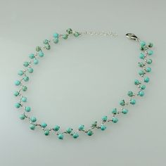 Turquoise zigzag collar choker necklace handmade by AniDesignsllc, $22.95