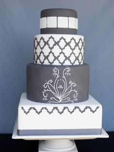 Charcoal Gray And White Fondant with embossed fontant tiles on (top tier) fondant cutouts (second and bottom tier) and hand piping. Pretty Cakes, Beautiful Cakes, Amazing Cakes, White Cakes, Cake Central, Cupcake Cookies, Cupcakes, Piece Of Cakes, Fancy Cakes