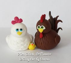 Hen, Chick, and Rooster polymer clay figurines - your choice by ClayArtbyDaresa on Etsy https://www.etsy.com/listing/229567581/hen-chick-and-rooster-polymer-clay