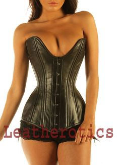 1efb0d9fca Black LEATHER coset steampunk overbust double by Leatherotics