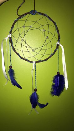 Starry Night This dreamcatcher is a handmade piece done by myself, an indigenous mikmaq woman. Each piece can be altered between bead colours, leather, and feathers, for further customization. Every dreamcatcher made is smudged with white sage as well, an order to present you a