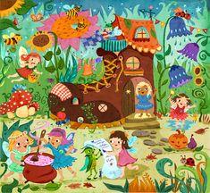 Ideas For Garden Illustration Kids English Garden Design, Cottage Garden Design, Garden Design Plans, Small Garden Design, Garden Illustration, Pattern Illustration, Graphic Design Illustration, Illustration Kids, Large Fairy Garden